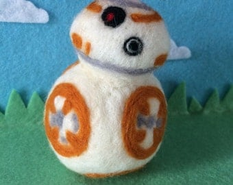 Bb-8 needle felted star wars wool handmade