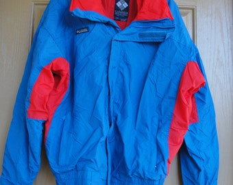 Vintage Columbia windbreaker jacket mens size L Large 80s 90s 1980s 1990s  blue red
