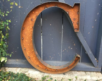 "Quick Ship -24"" Rustic Metal Letter ""C"""