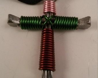 Camouflage Horseshoe Cross Necklace Handmade