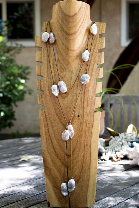 Leather and Pearl Wrap Necklace