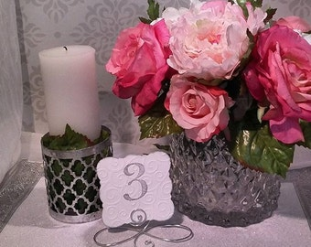 20 infinity Bow table number holders, Black, Gold or Silver table wedding number stands, wedding table number holders