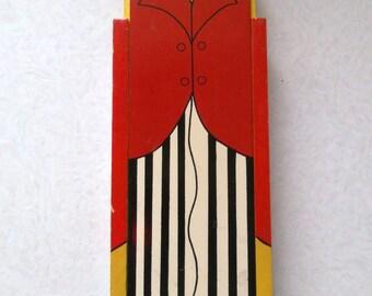 Vintage golly golliwog pencil box wooden - sliding lid