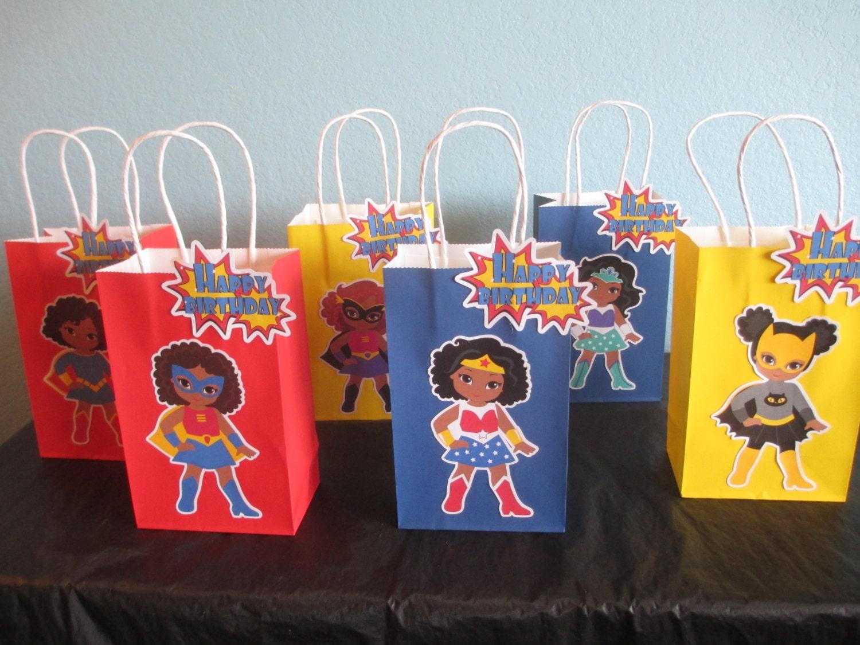 Dark Skin Tone Superhero Favor Bags(10)African American