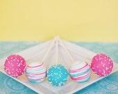 Pink and Blue Cake Pops - Edible Party Favor - Edible Wedding Favor - Baby Shower Favor - Shower Ideas - Buy Cake Pops - Birthday Cake Pops