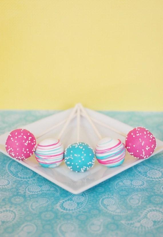 Pink and Blue Cake Pops - Edible Party Favor - Edible Wedding Favor ...