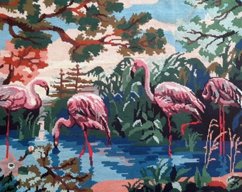 Flamingos drinking at lake vintage hand stitched needlepoint tapestry