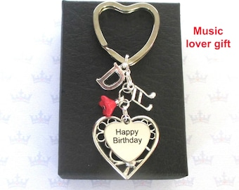 Personalised music note keyring - Happy Birthday keyring - Music lover gift - Music teacher gift - Happy Birthday gift - Music note keychain
