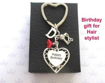 Personalised Hair stylist keyring - Happy Birthday keychain - Birthday gift for hairdresser - Hair stylist gift - Hairdryer keyring - UK
