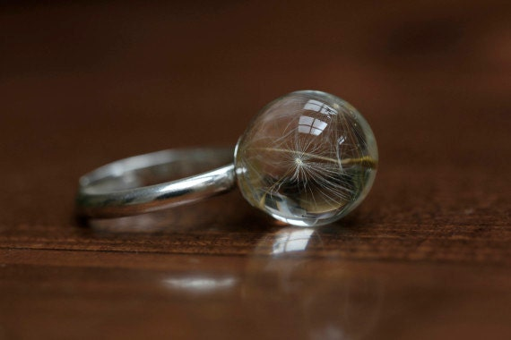 Dandelion resin ring -sterling silver 925-  make A wish orb adjustable ring Seeds Flower statement ring weeding