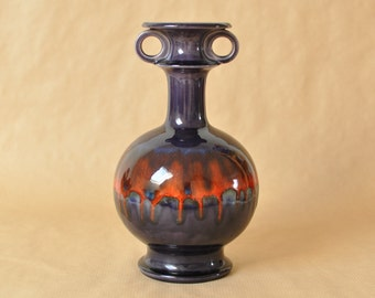 Hutschenreuther - Renee Neue - Large vase - Hartkeramik - orange & purple - West-Germany