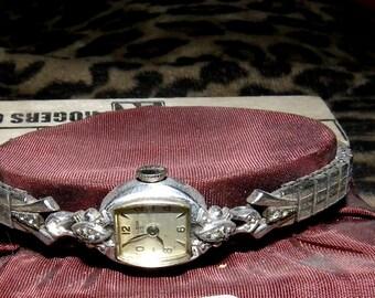 Wrist Watch Ladies 23 J bulova gold filled w diamonds in case 115.00