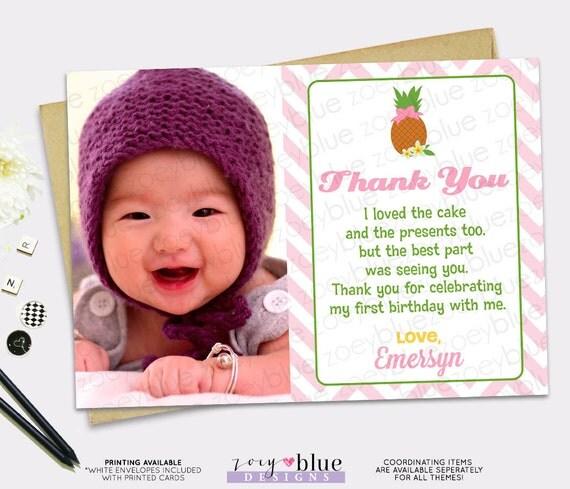 Pineapple Birthday Party Invitation Girl Hawaiian Luau Thank You