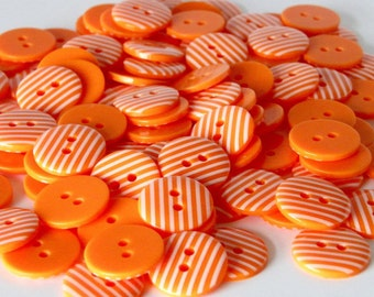 10 x 15mm Orange Stripe Buttons