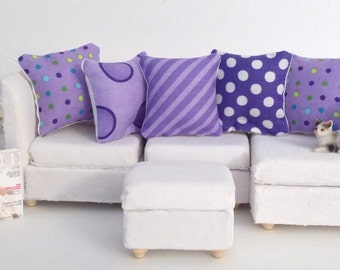 Modern Dollhouse Pillows, 5 Piece Purple and White Pillow Set, 1:12 Pillow Set, Modern Fashion Doll Pillow, Fashion Doll Miniature Pillows