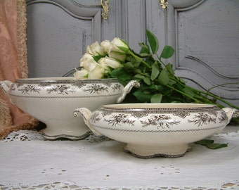 Antique french brown transferware small vegetable tureen. Brown transferware. French transferware. Antique tureen. Teastained french tureen.