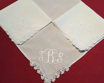 Monogrammed Handkerchief - Custom Embroidered Monogram handkerchief - lace handkerchief - elegant handkerchief - initialed handkerchief