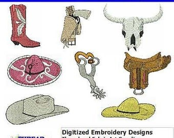 Embroidery Design CD - Western(1) - 8 Designs - 9 Formats - Threadart