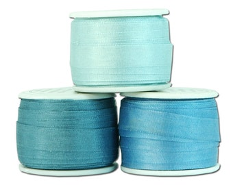 33 Yds Embroidery Silk Ribbon 100% Silk 7mm - 3 Blue Colors - By Threadart