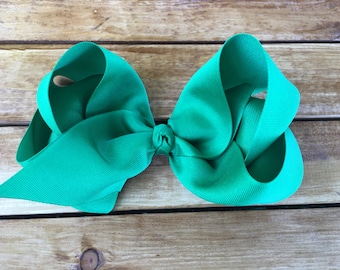 Extra Large Boutique Twisted Southern Hair Bow Hand Sewn Emerald Green 3 inch Grosgrain Ribbon