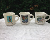 """Boy Scouts Camp Chief Little Turtle ceramic coffee cup 1990, 1992, 1993 camp leader tan 3.5""""""""x 3.5"""