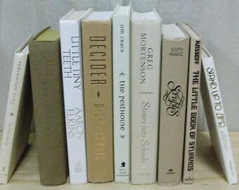 Cream White Neutral Books Set of 9 ~ Instant Bookshelf Wedding Lot