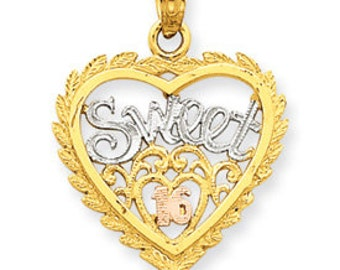 Three Tone Sweet 16 Heart Pendant (JC-1041)