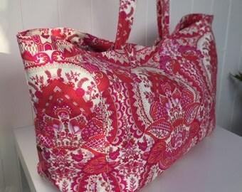 Handbag Large, Floral Pink, Overnight Bag, Diaper Bag, Travel Bag, OOAK Tote, Made in Australia, Women's Gift, Amy Butler Print, shoulder