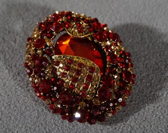 Vintage Art Deco Style Yellow Gold Tone Ruby Red Rhinestone Oval Pin Brooch Jewelry      K#53