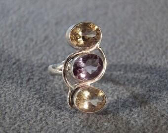 Vintage Sterling Silver 3 Large Oval  Bezel Set Amethyst Golden Citrine Band Ring, Size 6.5         **RL