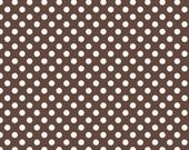 Small Brown Dots - 1 Yard - Brown White Small Dot - Riley Blake Polka Dot -C350-90 BROWN