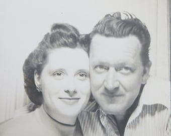 1950's Cute Couple Shares A Moment In The Photo Booth Photo - Free Shipping