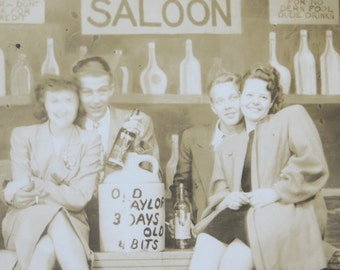 Cute 1940's Carnival Saloon  Real Photo Postcard - Free Shipping