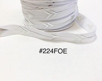 "2/3/5 yard - 5/8"" Silver Arrow White Fold Over Elastic Headband Hair Accessories"