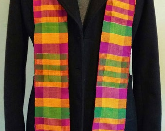 Authentic African Kente Cloth Stole, Scarf, Made in Ghana, Multi-Color, Graduation Ceremonial Stole