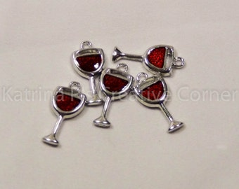 Red Wine Goblet Charms (5)