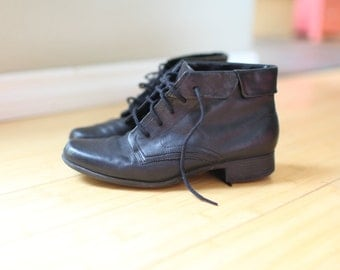 vintage black leather oxfords ankle boots lace up womens 7 *