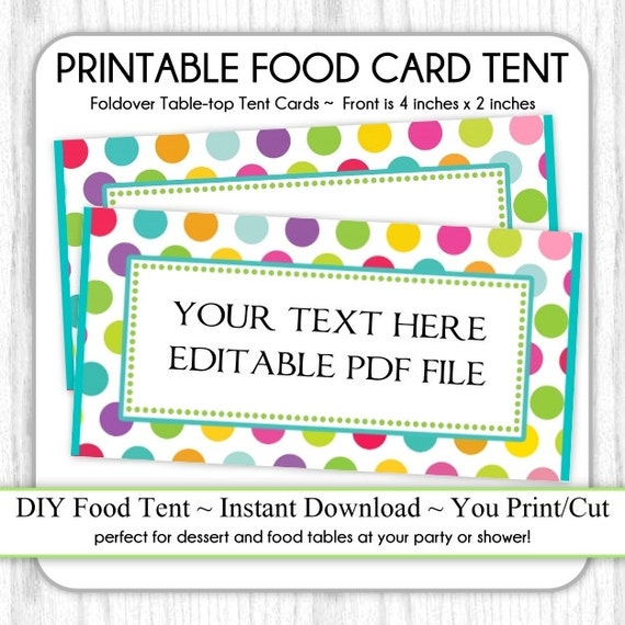 Circus Polka Dots Table-top Tent Cards Carnival Birthday