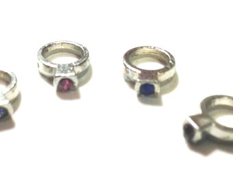 Birthstone Ring Floating Charms- set of 4 (random set)