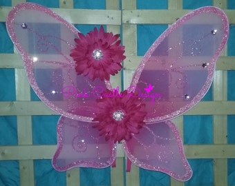 Wings,Hot Pink,Butterfly wings,Princess Wings,Size LARGE,Costume Wings,Sparkly,Wings,Halloween,Costume,Dress Up,Wings,Ready to Ship,PCD0290
