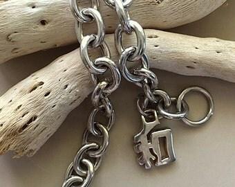 Vintage Sterling Silver Large Link Bracelet with Symbol Charm 7 1/4 Inches  17.60grams