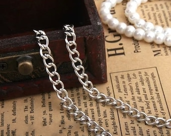DIY jewelry 10 meters  antiqued gold or silver  round cable chain 4x6mm fine chain