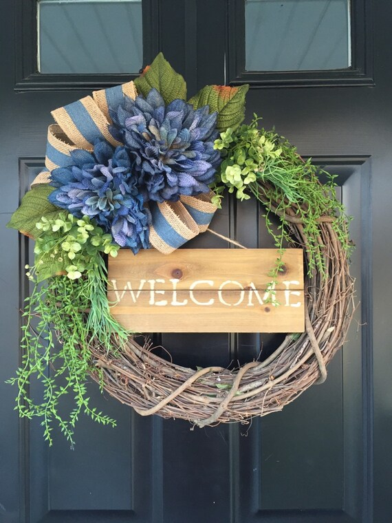 Blue Dahlia Burlap Welcome Wreath Wreath Spring Wreath