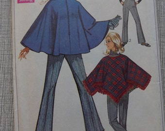 Misses' Ponchos and Bell-Bottom Pants in Size 16 Vintage 60s Simplicity Sewing Pattern 7871