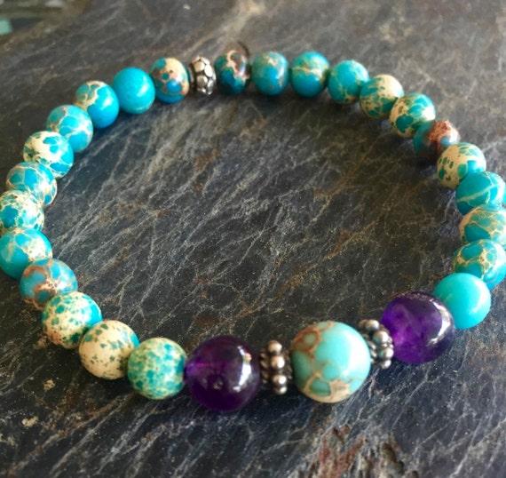 Amethyst Wrist Mala Beads, Sea Sediment Jasper, Sterling Silver, Stretch Mala Bracelet, Yoga Jewelry Minimalist, Stacking Bracelet
