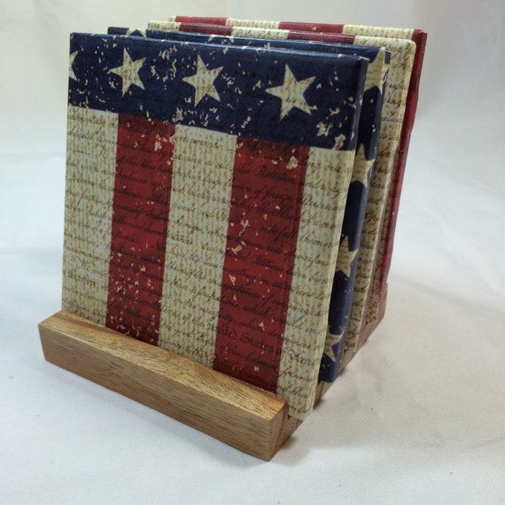 Handmade american flag drink coasters set of for Handmade drink coasters