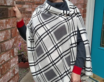 Knitted Plaid Wrap Pattern