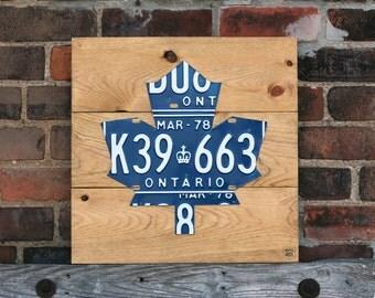 Maple Leaf Art Sign - Handmade Vintage License Plate Art - Puritan Pine