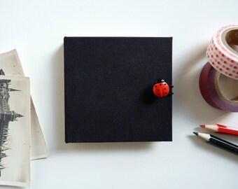 Mini photo album square. Mini accordion album. Leporello. Ground pea and Ladybug.