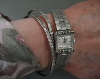 Vintage Hilton 17 Jewels Silver & Rhinestone Swiss Movement Art Deco Ladies Wind-up Watch